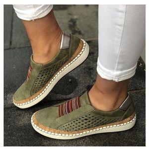 Shoes - Green Slip On Perforated Sneakers Size 10